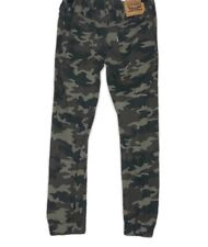 Levis Boys size 12 Green & Black Camo Drawstring Jogger Pants Cotton Ripstop 26