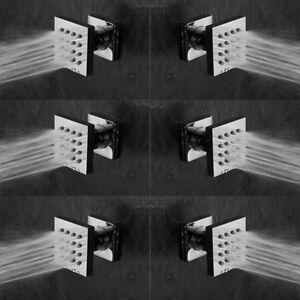 6 pcs Shower Spa Brass Square Massage Jets Spray Body Shower Set, Chrome Finish