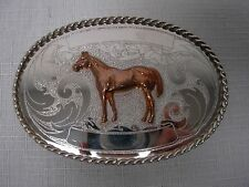 VINTAGE GERMAN SILVER & GOLD WESTERN COWBOY RODEO TROPHY w HORSE BELT BUCKLE