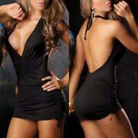 Bodycon Plunge Sexy Women Backless Party Night Clubwear Short Mini Dress