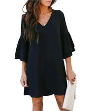 BELONGSCI Women's Dress Sweet & Cute V-Neck Bell Sleeve, Black, Size X-Large