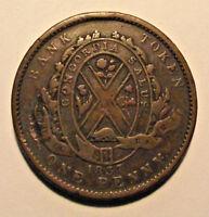 1837 Canada Bank Token Province Du Bas Deux Sous (LOT JC28) Copper One Penny