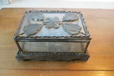 Vintage all tin and glass hinged trinket box, turn of century, star, leaves, old