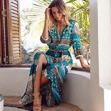 Women's Boho Floral Maxi Long Skirt Dress Summer Beach Evening Party Sundress UK