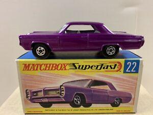 Matchbox Lesney Superfast #22 Pontiac Grand Prix Dark Purple with G box