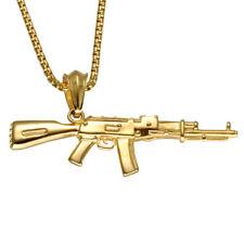 Stainless Steel Silver Gold Black AK47 Machine Gun Pendant Necklace For Men Boy