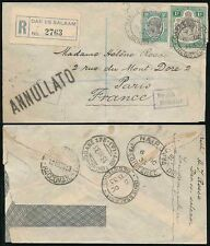 TANGANYIKA KUT REGISTERED 1933 AIRMAIL via BRINDISI BOXED ANNULLATO HS to FRANCE