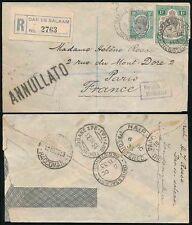 Correo aéreo registrado 1933 Tanganyika Kut a través de Brindisi en Caja annullato Hs a Francia