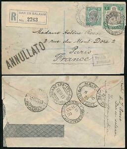 TANGANYIKA KUT REGISTERED 1933 AIRMAIL via BRINDISI BOXED ANNULLATO HS to FRANCE
