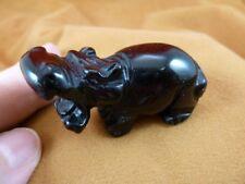 (Y-Hip-716) Black Onyx roaring Hippo Hippopotamus Gemstone gem carving figurine