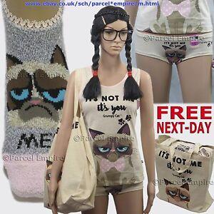 Official GRUMPY CAT® Ladies KNICKERS, Socks, Panties Girls HIPSTERS Pyjamas UK