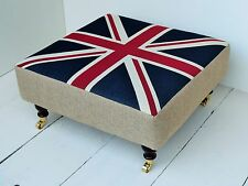 New Large Footstool / Table - Union Jack / Great Britain Fabric. Choice of legs!