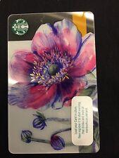 Purple Pink Abstract Poppy Card 2017 Starbucks Card GB UK Coffee Card
