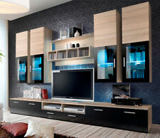 Presto 3 - oak sonoma matt and black gloss tv wall unit / entertainment center