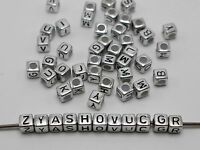 250 Assorted Silver Metallic Acrylic Alphabet Letter Cube Pony Beads 6X6mm