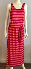 Michael Kors Maxi Dress Medium M Long Pink Orange Striped Sleeveless