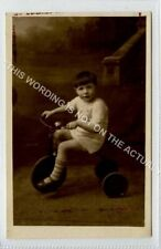 "(Lf7369-508) RP, Little Boy ""Harold"" on Tricycle, Three Wheeled Bike Unused G-VG"