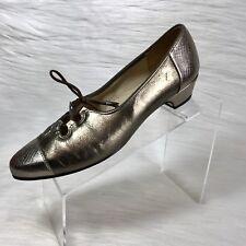 Vintage Johansen Ette Women's Pumps Gold Leather Cap Toe Lace Up Size 10 AA