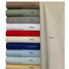 New 1 Flat sheet + 2 Pillows (Size US)Egyptian Cotton 1000 TC Multi Solid Colors