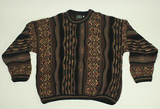 TUNDRA Canada Crazy Lines Sweater Large L Cosby Bachrach Brown Wild Cotton VTG