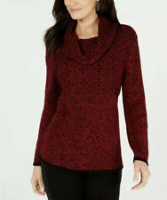 NWT Style & Co. Women's Red Combo Mixed-Pattern Cowl-Neck Sweater Petite PXL