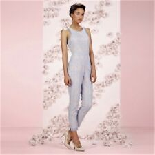 2710487aae27 LC Lauren Conrad Runway Collection Blue Lace Jumpsuit Womens size 14 NWT