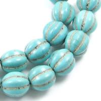 10 Perles Synthétique Pierre Turquoise Fleur 12mm creation bijoux, bracelet, ...