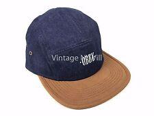 OBEY Deschutes Dark Blue Jean Denim/ Brown Faux Suede 5 Panel Adjustable Hat