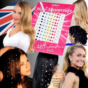 Charming Iron In / Straighten In Hair Diamond Crystal Bling Gem Ornaments 48 Pcs