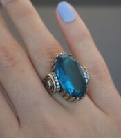 925 Sterling Silver Handmade Authentic Turkish Aqua Marine Ladies Ring Size 7-9