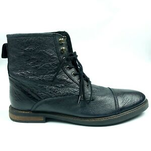 Ben Sherman Mens Leather Black Ankle Boots Size 11 Shoes