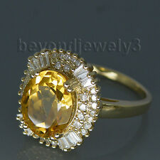 Solid14kt Yellow Gold Diamond Engagement Wedding Yellow Citrine Gemstine Ring