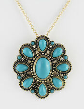 "Turquoise Blue Acrylic Flower 53X49 mm Pendant Brass Finished Pewter 20"" Chain"
