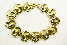 """Vintage gold tone swirl fashion bracelet 8""""L"""