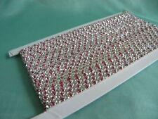 Fancy Crystal Rhinestone Trim  Banding ~Silver&DeepPink