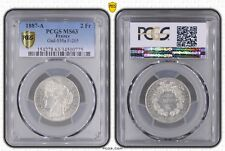 FRANCE - RARE SILVER 2 FRANCS UNC COIN 1887 A YEAR KM#817.1 GAD-530a PCGS MS63