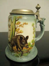 VIntage German Dresden Porcelain Hunting Scene Boar Pheasant Lidded Beer Stein!