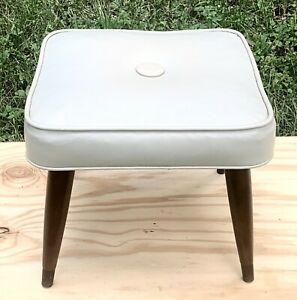 1960's Gray mid century modern furniture footstool ottoman hassock pencil legs