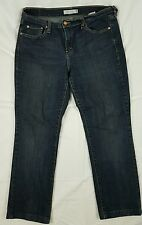Womens Levis 505 Stretch Dark Wash Straight Leg Jeans Size 12 med Short      J3