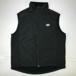 Pearl Izumi Mens Cycling Vests Black Pockets Zipper Mock Neck Fleece Lined Large