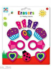 10 Erasers Rubbers Party Gift Bag Filler BUTTERFLY HEARTS RING LADYBIRD