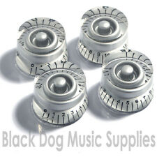 Set of 4 silver guitar control knobs fits Les Paul 0-15 scale tone and Volume