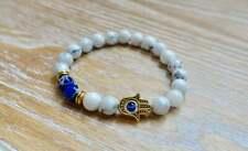 White Turquoise Hamsa Tibet Silver Buddha Elastic Bracelet Stylish Charm Natural