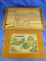 Original Baukasten - Lithografie Holzbaukasten Blumenau Erzgebirge DR.1037