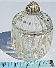Crystal sugar bowl lid 22Kt Gold rim top antique vintage glassware collectible