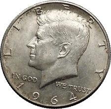 1964  President John F. Kennedy Silver Half Dollar United States USA Coin i44618
