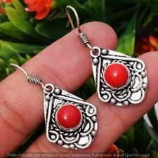 "Plated Earring 3.6"" E-26520 Coral 925 Sterling Silver"