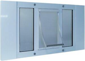 "Ideal Pet Wide Window Aluminum 27-32 Sash Small Pet Door White 5"" x 7"" Flap"