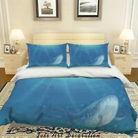 3D Hand Drawn Whale Blue Quilt Cover Sets Pillowcases Duvet Comforter 118