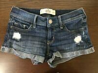 Hollister short short low rise cuffed jean shorts sz 0 w24